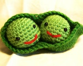 Two Peas In a Pod Amigurumi Stuffed Toy Plush Crochet Kawaii Pretend food Vegetable  Handmade Ready to Ship