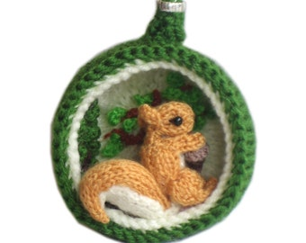 Chistmas Diorama Ball SQUIRREL Ornament Pdf Email Knit PATTERN