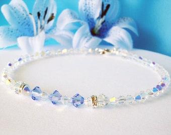 Something Blue Anklet Lt. Sapphire Blue Swarovski Crystal Ankle Bracelet Wedding Jewelry