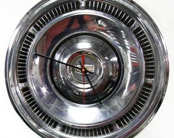 1969 Mercury Marauder Hub Cap Clock - Monterey Marquis - Retro Industrial Decor