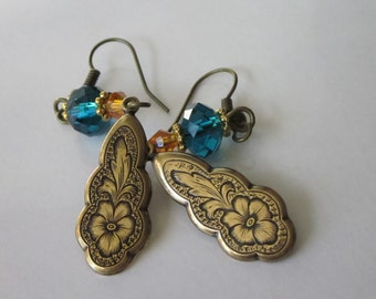 Brass and Glass Earrings, Antiqued Gold Victorian, Teal and Orange, Hibiscus Flower Dangle Earrings, Vintage Styling