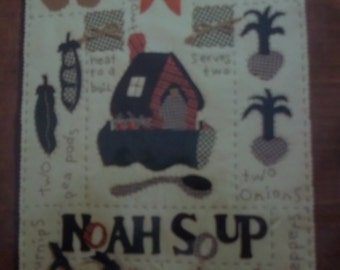 """embroidery needlecraft kit - NOAH SOUP appliques KIT - vegetable - ark - patches - felt - Wall hanging - 13"""" x 17""""  finished  - unused Kit"""