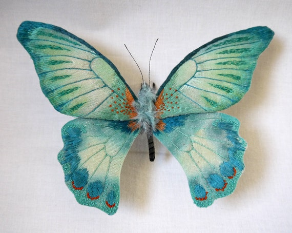 Fabric sculpture -Large turquoise color butterfly textile art