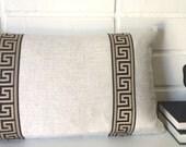 Black and gold Greek key Linen 14x20 lumbar accent pillow cover toss pillow cover throw pillow cover
