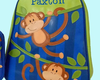 Personalized Stephen Joseph GoGo Backpack BOY MONKEY Themed Backpack-Monogramming Included