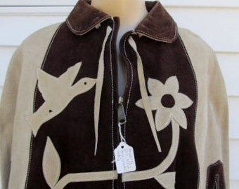 Vintage Suede LEATHER Birds Flowers Jacket CAPE One Size Fits Most