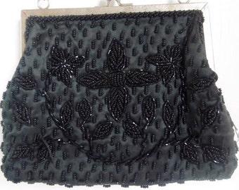 Vintage 1950s Black Hand Beaded Evening Bag Purse
