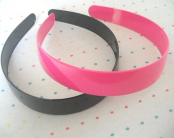 "Extra Wide Hot Pink and Black Plastic Headbands, 1"" Wide (2)"