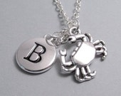 Crab Charm Necklace, Crab Keychain, Silver Plated Charm, Engraved Charm, Monogram