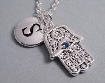 Hamsa Hand with Blue Sapphire Crystal Silver Plated Charm jewelry Supplies