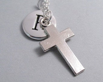 Cross Charm Necklace, Antique Silver, Cross Keychain, Engraved Initial Charm, Personalized, Monogram