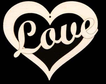 LOVE in Heart WITH HOLE Natural Craft Wood Cutout 127-4