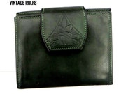Estate Vintage Rolfs CCard Wallet  Carte de Credit PorteMonnaie en Cuir Deep Green Leather Exc