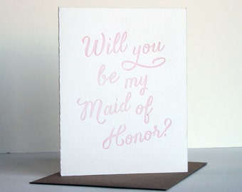 SALE - Letterpress Wedding card - Maid of Honor - Blush