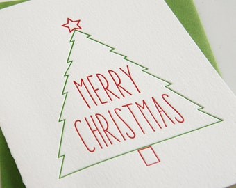Letterpress Holiday Card Letterpress Christmas Cards - Star Tree