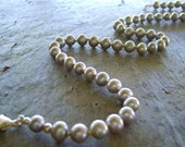Silver Grey Freshwater Pearls on Contrasting Sunny Yellow Silk Cord - All Hand Knotted - Silvery Cool