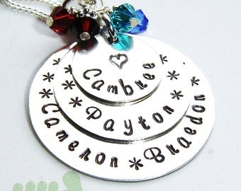 Birthstone jewelry - Handstamped grandma necklace - personalized necklace with 4 kid's names