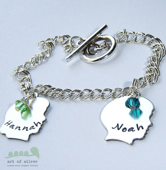 Charm bracelet - Handstamped name charms - Mother charm bracelet - Silhouette boy girl charms