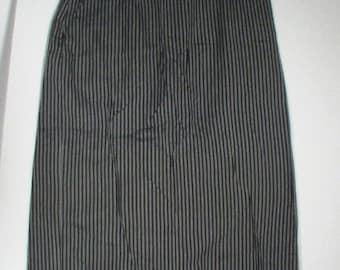 A Benedetto grey pinstripe skirt long a line size 14 28 30 punk goth secretary Hitchcock grunge steampunk