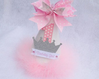 Sparkling Princess Birthday Party Hat in Pink White and Silver for winter onderland party
