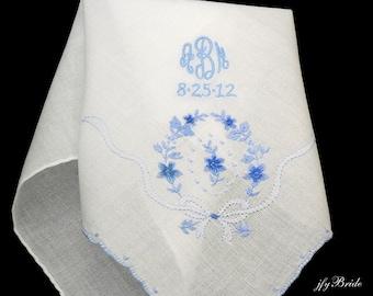 Wedding Handkerchief, Something Blue, Brides Handkerchief, Monogrammed Handkerchief
