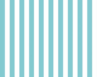 Aqua and White Half Inch Small Stripes Fabric from Riley Blake Designs - By the Yard - 1 Yard