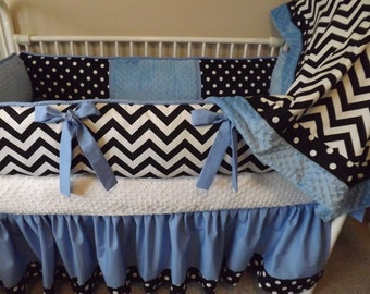 Blue black and  White Chevron Baby bedding Crib set DEPOSIT