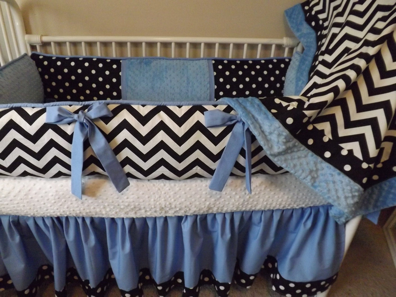 Blue Black And White Chevron Baby Bedding Crib Set DEPOSIT