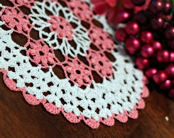 Pretty White and pink flower Crochet  Doily