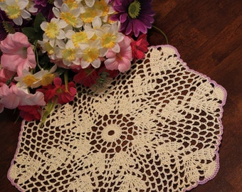Beautiful Purple and Cream  Wheat Crochet  Doily