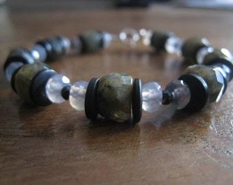 Labradorite, Moonstone, and Amber Bracelet
