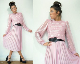 Blush Pink Polka Dot Dress / 80's Vintage Pleated Dress / Puff Sleeves