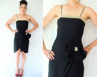 TULIP SKIRT Dress vtg 80's Julie Duroche Black Spaghetti Strap Dress w/ Big Bow Rhinestone Accent