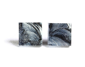 Silver glass square stud post earrings (704) - Flat rate shipping
