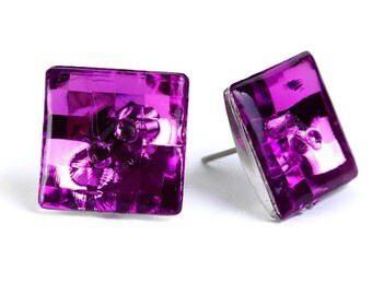 Purple violet vintage disco mosaic square button studs posts earrings READY to ship (469) - Flat rate shipping