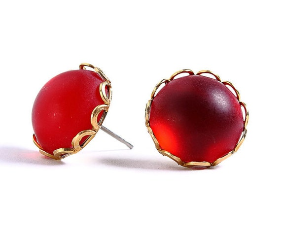 Matte frost garnet red hypoallergenic surgical steel post earrings (412) - Flat rate shipping