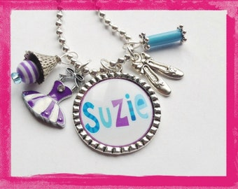 BALLET NECKLACE - Personalized Dance Necklace - Bezel Charms - Personalized Jewelry - #B41
