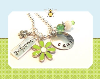 Hand Stamped IMAGINE  Personalized Charm Necklace for Children # i70