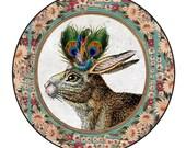 Whimsical Vintage Portrait : Large Pocket Mirror ... Peacock Hare