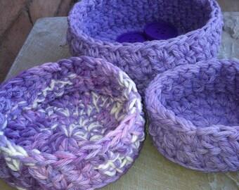 Nesting Bowls, Crochet bowls, Storage, Lovely Lavender