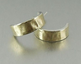New Israel Simple Handmade Art99k yellow Gold 925 sterling Silver J Hoop Earrings (I e)y