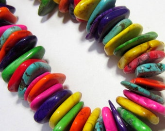 65 Chunky Turquoise beads multi-color chips large howlite beads 12mm x 18mm LO13 (D7),