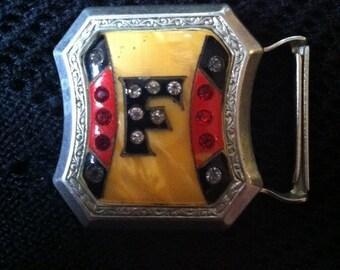1921 Vintage ...F... Silver Belt Buckle or Clasp...F... is for Fraser the Highlander? Crystal Embedded
