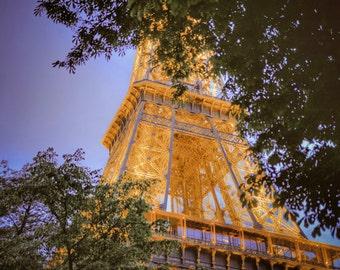 Eiffel Tower Photo, Paris Photography Trees Twilight Dreamy Paris Nostalgic Night Evening Blue Gold Wall Art par39