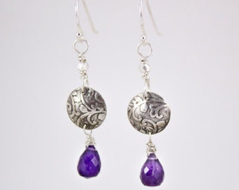 Small silver round botanical earrings with amethyst gemstone