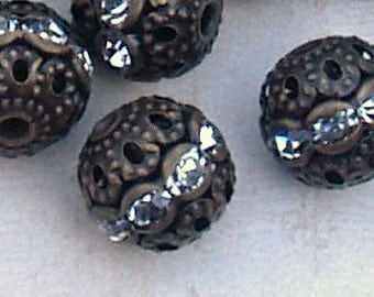 12mm Antique Brass Filigree Rhinestone Beads 12 pieces Round Vintage look