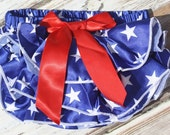 Star bloomers- red white blue Diaper Cover- Pink DIAPER COVER PANTIES- Shower Gift- Photo prop- Little Girls Bloomers-Ivory bloomers