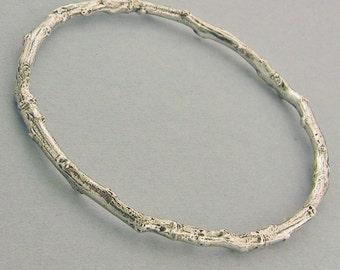 Botanical nature jewelry heavy twig bangle bracelet rustic tree branch bracelet sterling silver 5 sizes