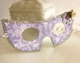 Silver and Lavender Shabby Chic Masquerade Mask Halloween Costume or Party Favor