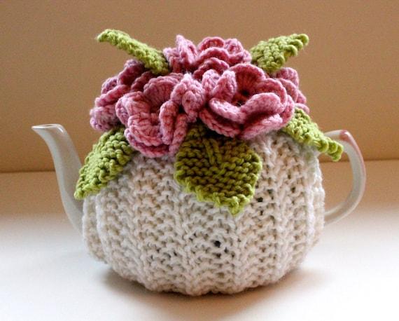 Pink Petals - Flower Garden Tea Cosy - in Pure Wool